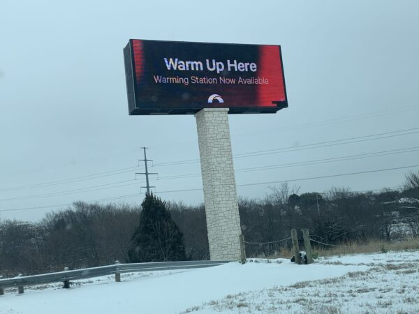 The Hills Church of Christ in North Richland Hills, Texas, invites residents without power to warm up at the church building.