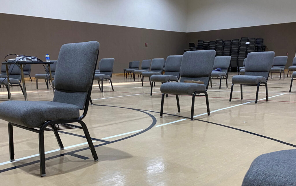 In the multipurpose room of the Westside Church of Christ in Bakersfield, Calif., socially distanced chairs await members of the congregation's youth group.