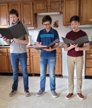 Eli Blunt, Gunnar Williamson and Joseph Williamson, from the Skagit Valley Church of Christ, practice for Bible Reader's Theater.