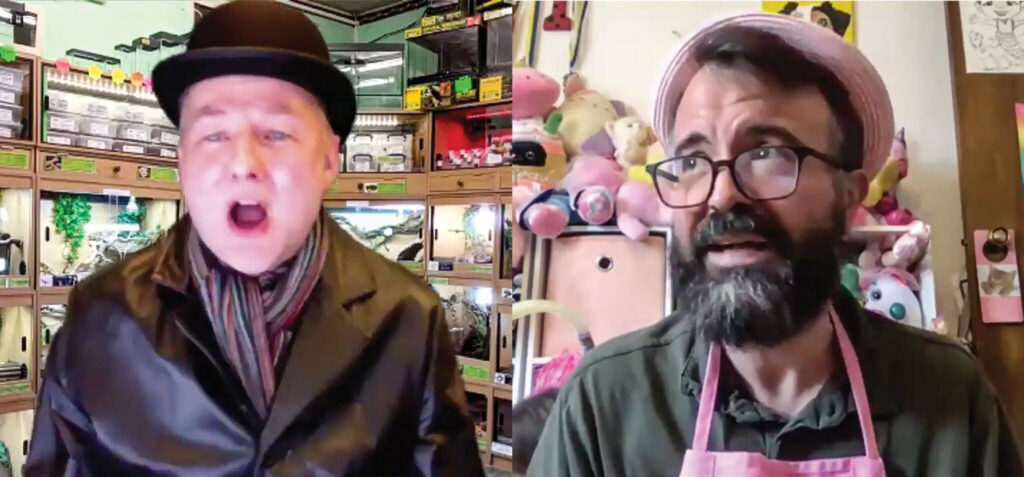 Mr. Praline (Patrick Boyns) and pet shop owner (Erik Tryggestad) in the Dead Parrot sketch, transcontinental version.
