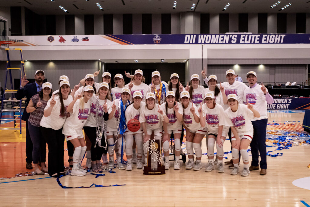 Lubbock Christian University's Chaparrals celebrate their latests NCAA Division II title.