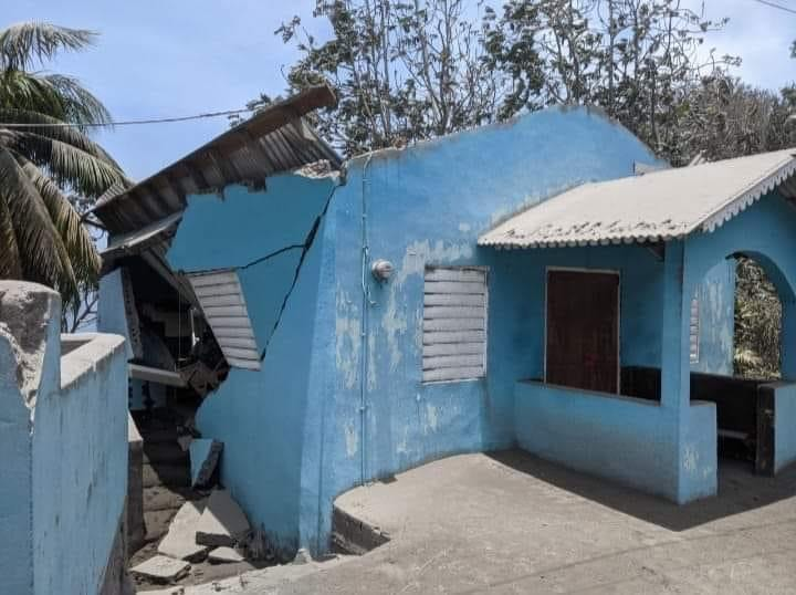 The meeting place of the Owia Church of Christ on St. Vincent was severely damaged — likely from earthquakes created by the volcano.