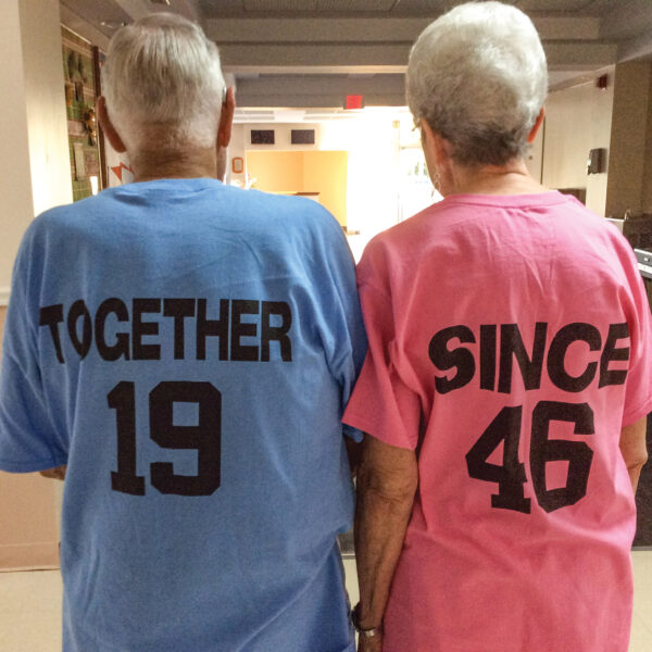 Dale and Fern Doyle's T-shirts recall their wedding 75 years ago — in 1946.