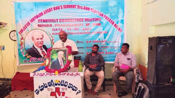 """Una Iglesia de Cristo en Dornala, India, organiza una """"Reunión de sinceras condolencias""""."""