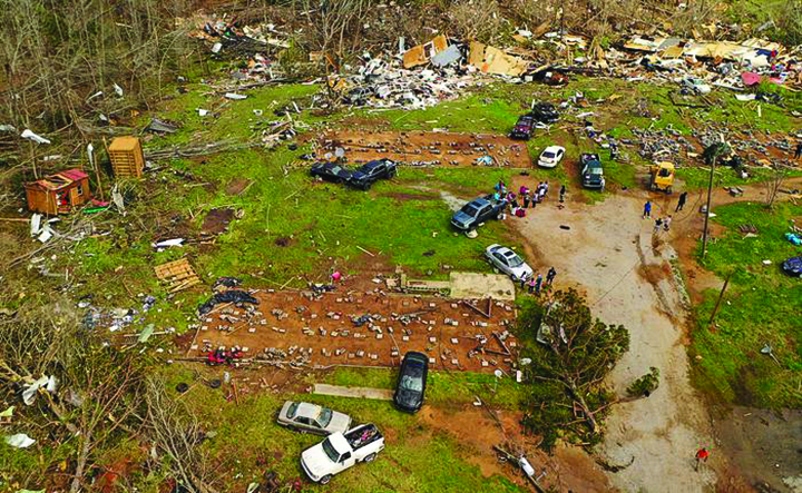 A drone photo shows the area where the tornado hit the Harris family's home.