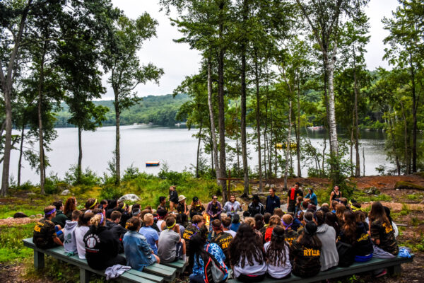 Youths gather during a retreat at Timothy Hill Ranch.