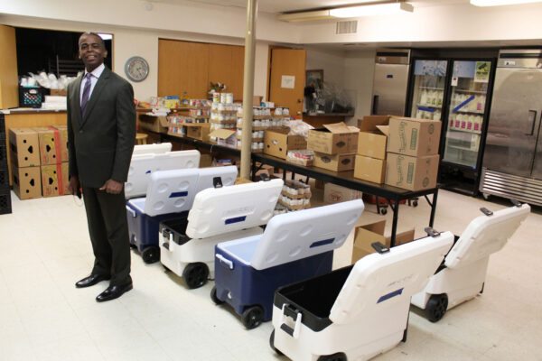 Minneapolis Central Church of Christ elder Lloyd Glenn Pointer in the basement that is the hub of the congregation's busy benevolence and food ministry. He and minister Russell A. Pointer Sr. are cousins.