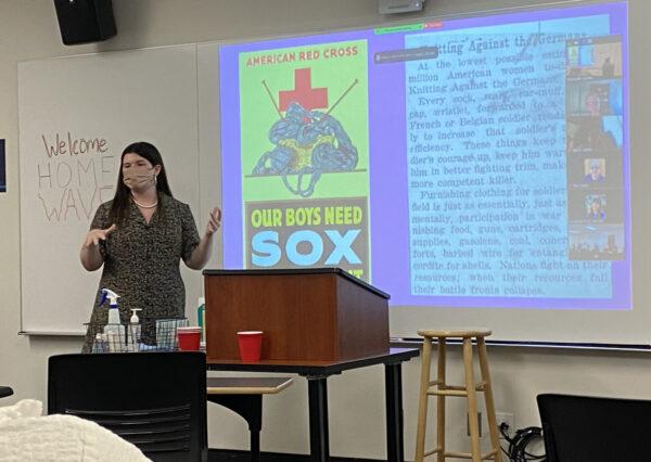 Kendall Ross makes her senior history thesis presentation at Pepperdine University in Malibu, Calif.