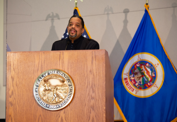 Minister Russell A. Pointer Sr. speaks at a community police reform news conference hosted by Minnesota Gov. Tim Walz.