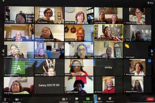 Members of Shades of Grace Sisters meet for an online discussion of race.