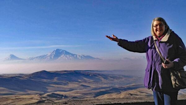 Eileen Emch visits Mount Ararat in Turkey in 2019.