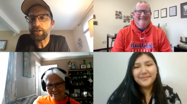 In a Zoom discussion, Bobby Ross Jr., top right, interviews Kevin Vance, Brenda Cyr, bottom right, and Kenilee Pelletier.