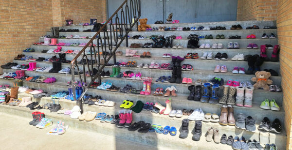 More than 250 pairs of shoes were left on the steps of Parkland Crossing, a ministry in Dauphin, Manitoba, at the site of a former residential school.