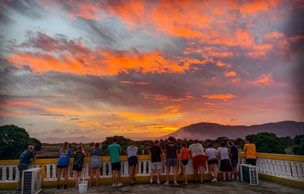 From the roof of the See Him Minisistries facility near Cap-Haïtien, the Tennessee mission team watches the sun set.