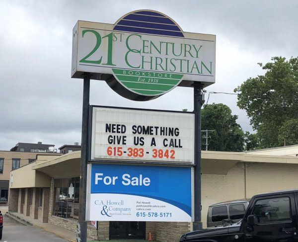 """A """"For Sale"""" sign can be seen at the 21st Century Christian Bookstore in Nashville, Tenn."""