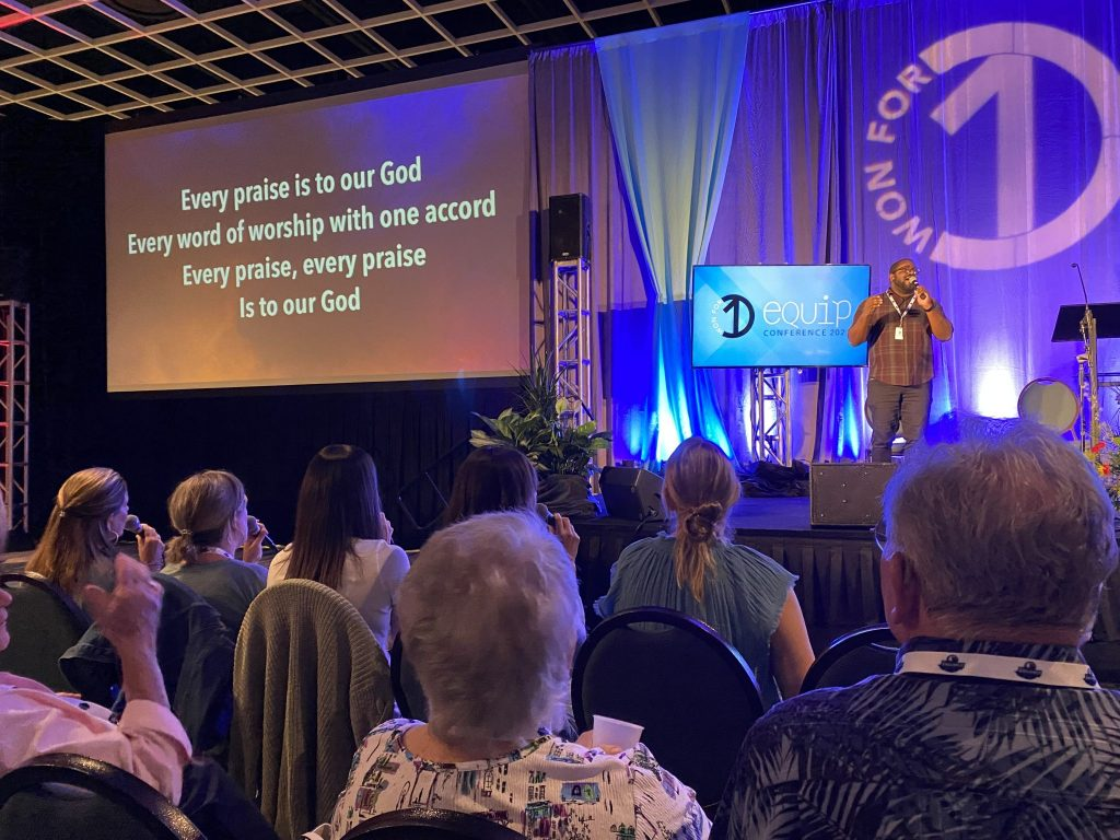 Christians sing at the Equip Conference in Orlando, Fla.