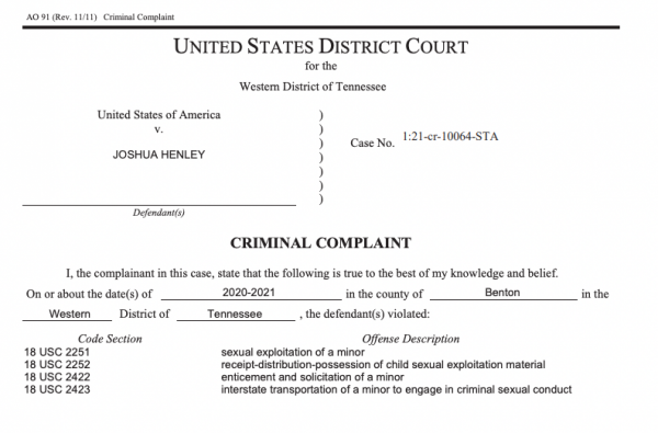 A federal criminal complaint lists federal charges against Josh Henley.