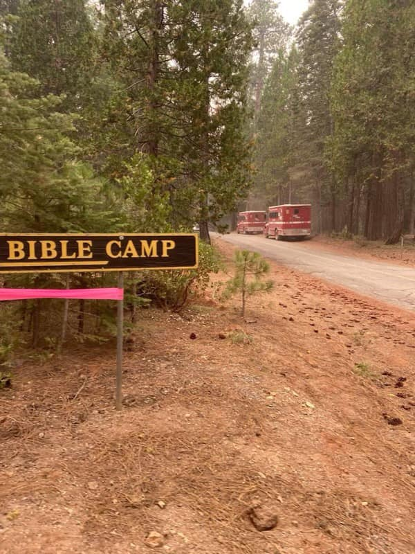 California firefighters use the Sierra Bible Camp as a base of operations on July 25.