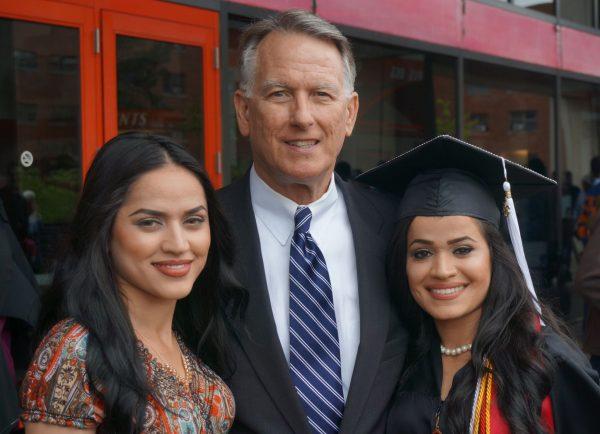 Retired Lt. Gen. John Bradley with the twins at Husnia's graduation from the University of Cincinnati.