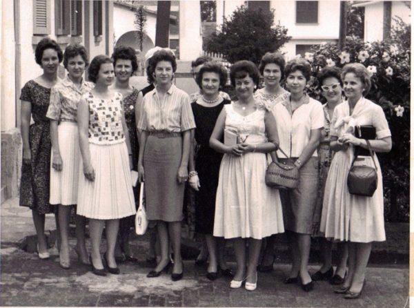 The women of the São Paulo team in the mid-1960s. From left: Mary Nelle Kreidel, Dot Stewart, Doris Long, Jane Norton, Marlene Owen, behind Marlene is Nancy Hill, Catherine Pennisi, behind Catherine is Barbara Campbell, Eldina Looper, Carol Vinzant, Jackie Humphries, Carolyn Mickey, Marion Tester.