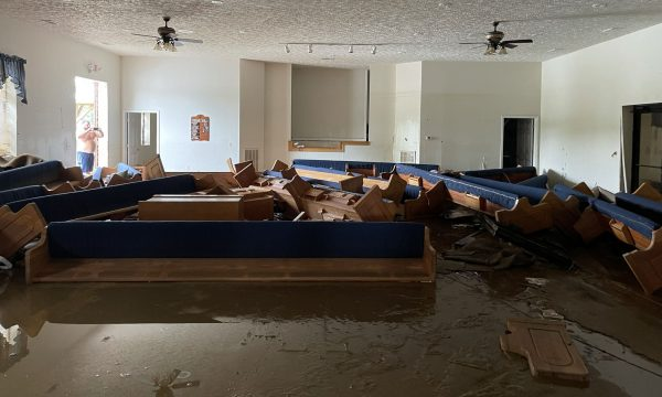 The auditorium of the Pinewood Church of Christ in Nunnelly, Tenn., after Saturday's flooding.