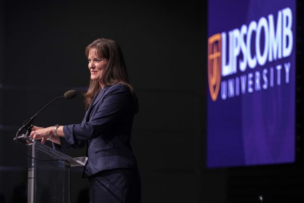 Candice McQueen speaks to Lipscomb University faculty and staff on Thursday, Aug. 5, 2021, after her selection as the university's first female president.