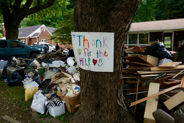 A sign thanks helpers in Waverly, Tenn.
