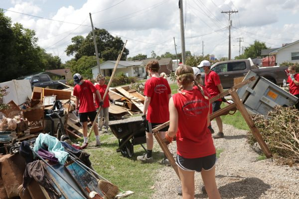 Volunteers with the Churches of Christ Disaster Response Team work in Waverly, Tenn.