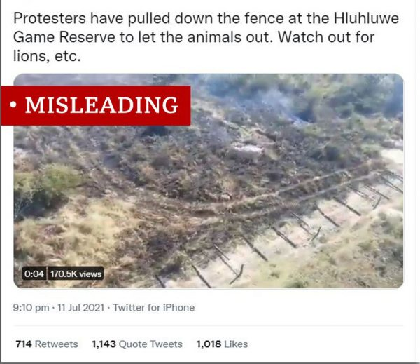 In a fact-checking post, the BBC labeled a claim about lions being released in the midst of protests as misleading.