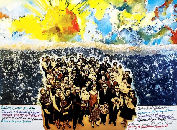 """""""Legacy"""" is a mixed media work by Cuban-American artist Rolando Diaz """"depicting what God has done through this team by showing the souls saved in heaven because of them,"""" said Michelle Mickey. Representatives of the mission team families signed prints of the piece, one of which is shown above. The original will be displayed at Abilene Christian University."""