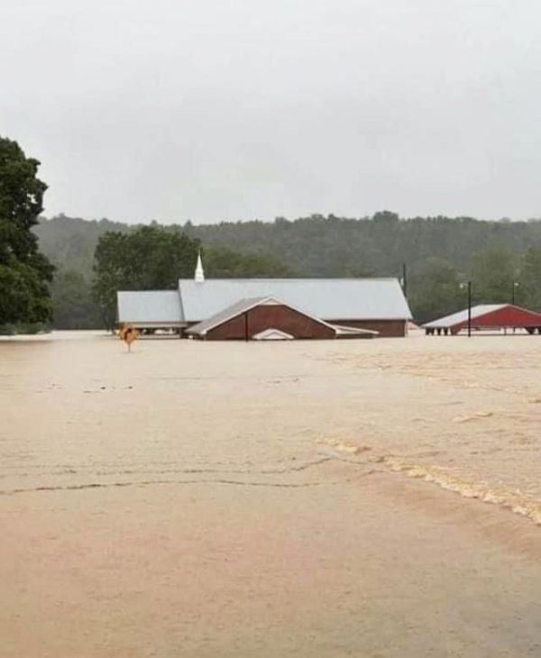 Floodwaters swamp the Pinewood Church of Christ in Nunnelly, Tenn.
