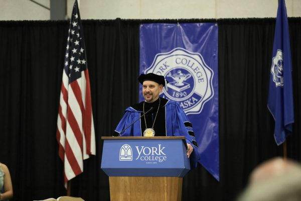 York College President Sam Smith gives his inaugural presentation on the York campus on Sept. 24.