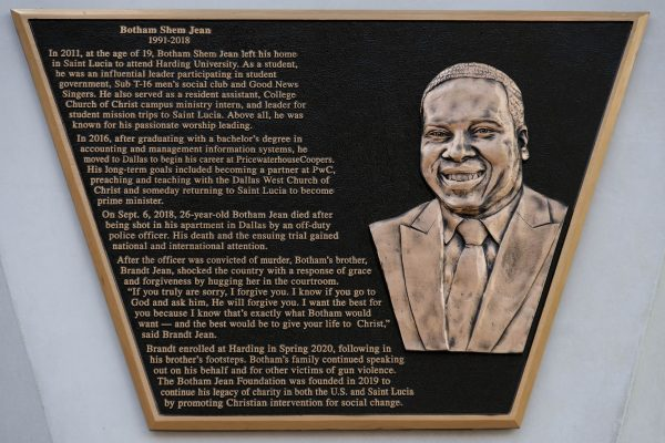 The Botham Jean memorial plaque at Harding University in Searcy, Ark.