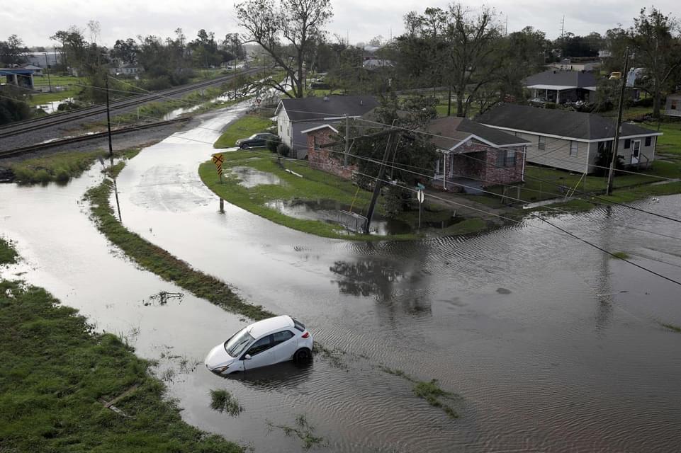 A flooded neighborhood in Louisiana after Hurricane Ida.