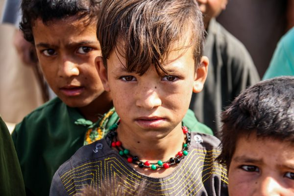 A refugee child is seen after the collapse of the Afghan government.