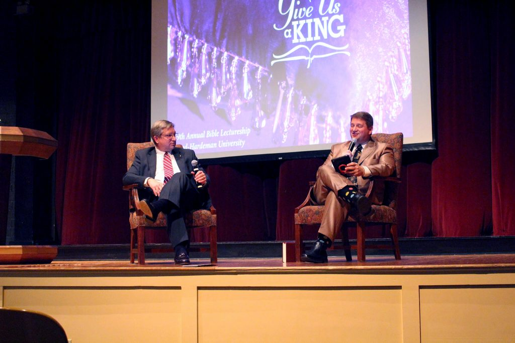 Brothers Jeff Jenkins, left, and Dale Jenkins, right, speak at Freed-Hardeman University's 79th Annual Bible Lectureship.